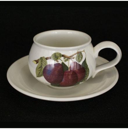 Pomona Kaffekopp med fat plommon