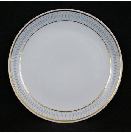 fler föremål Assiett bård grå guldlinje