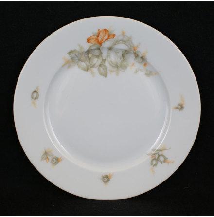 fler föremål Assiett blommor grå orange