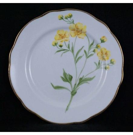 handmålade blomstermotiv Assiett 18,5 cm smörblomma