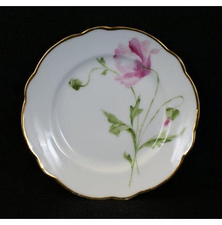handmålade blomstermotiv Assiett 15,5 cm rosa