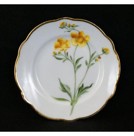 handmålade blomstermotiv Assiett 15,5 cm smörblomma
