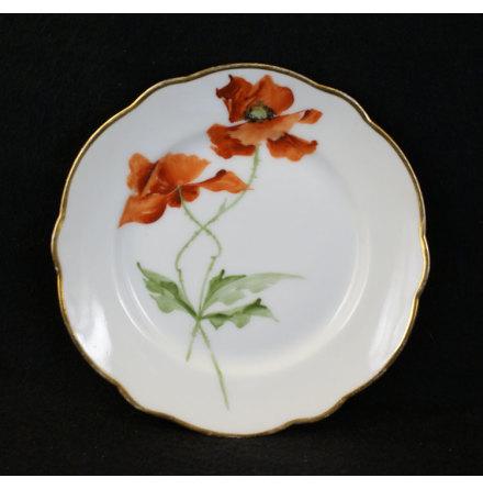 handmålade blomstermotiv Assiett 15,5 cm vallmo