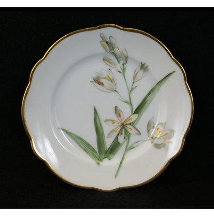 handmålade blomstermotiv Assiett 15 cm vit