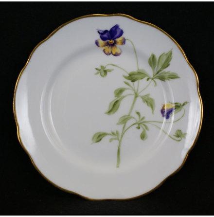 handmålade blomstermotiv Assiett 15 cm styvmorsviol