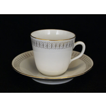 fler föremål Kaffekopp med fat spetsbård grå