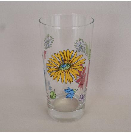 dricksglas med dekor Dricksglas blommor