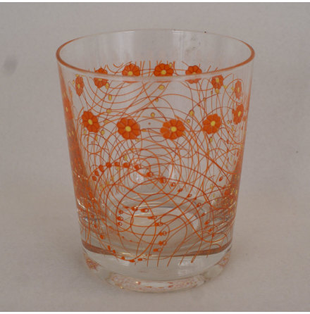 dricksglas med dekor Dricksglas mönster orange