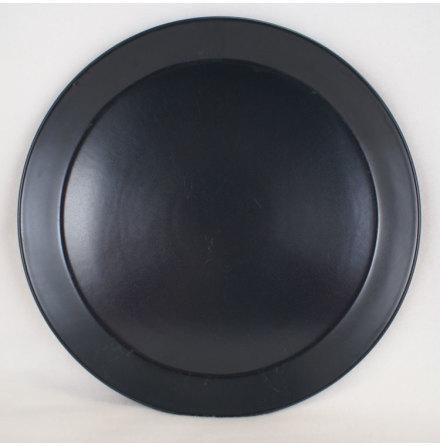 svart matt glasyr Flat tallrik